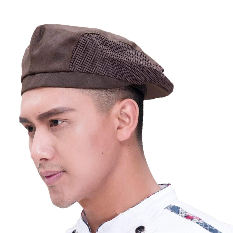 Adult Chef Hat Flat Beret Mesh Kitchen Catering Duckbill Cap Pastry Baker Cooking Waiter Uniform Cap for Restaurant Hotel 613lgoTCxjL