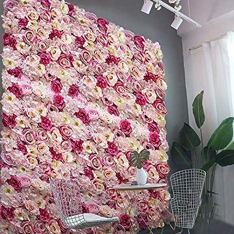 Künstliche Blumen Säule Wand Kunstblumen Panel Für Garten Hochzeit Dekor Rosa 60 X 40