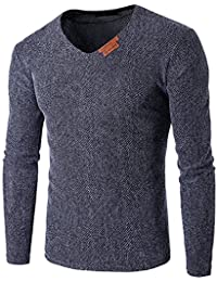 SDHEIJKY Men's NEW casual wear V collar long sleeved sweater slim fit Pullover