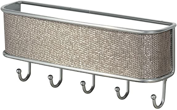 Amazon Com Idesign Twillo Metal Wall Mount Key And Mail Rack 5 Hook Organizer For Kitchen Mudroom Hallway Entryway 10 5 X 2 5 X 4 5 Metallico Home Kitchen