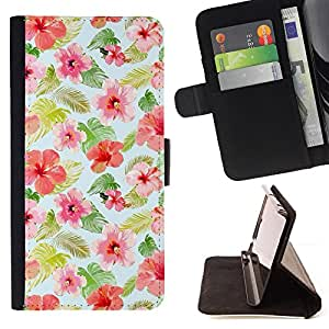 BullDog Case - FOR/Samsung Galaxy A3 / - / floral design pattern flowers fabric /- Monedero de cuero de la PU Llevar cubierta de la caja con el ID Credit Card Slots Flip funda de cuer