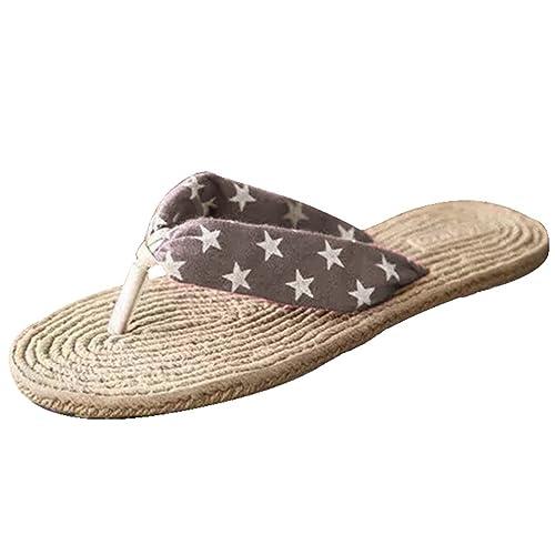 Yiiquan Damen Flach Sandalen Leichtgewicht Rutschfest Lässig Modisch  Sommersaison Verschiedene Farben Flip Flops (Braun Stern 0e72bd668d