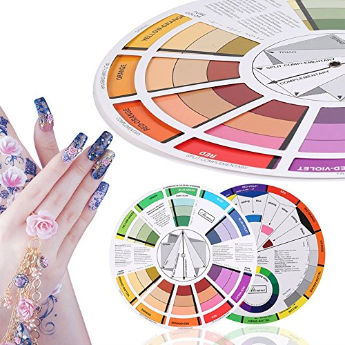 Engdash Professional Tattoo Nail Pigment 12 Color Wheel Paper Card Supplies Three-tier Rotatable Design (Wheel Colour Harmonious)