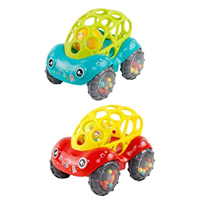 2Pcs Baby Rattle and Roll Car Flexible Teethable Car with Ball Newborn Teething Car Toys : Baby