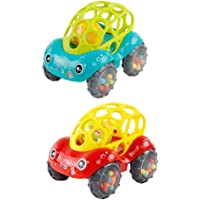 2Pcs Baby Rattle and Roll Car Flexible Teethable Car with Ball Newborn Teething Car Toys