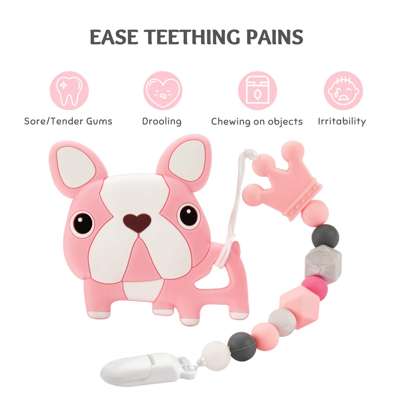 Baby Teething Toys Silicone Cartoon Design Teether with Relief Beads Binky Holder and Pacifier Clips for Toddlers /& Infant Gray