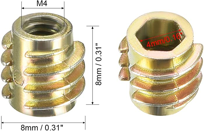 50pcs M6x8mm Threaded Insert Nuts Zinc Alloy Hex-Flush M6 Internal Threads 8mm Length