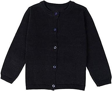 Little Girls Crewneck Cardigan Outwear Long Sleeve Children Button Cotton Sweater Cardigan Coat