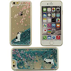 Fósforo líquido fluido patrón de gato blanco plástico duro caso de la cubierta Carcasa protectora case para Apple iPhone 6 plus / 6S plus 5.5 inch