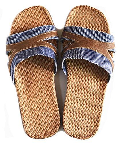 Slip On Zapatillas Puntera Abierta unisex sandalias de mulas absorbe la humedad de lino zapatos zapatillas de interior o al aire libre para adultos Azul