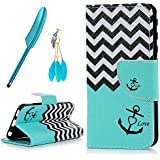 ZSTVIVA Touch 6 Wallet Case,iPod Touch 6 Case,Premium PU Leather Magnetic Flip Cover Blue Wavy Pattern Ultra Slim Fit Bumper with Card Slot Stand Holder Side Pocket for iPod Touch 6th Generation