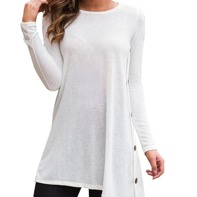 Manga Larga O-Cuello sólido de Mujeres Botón Blusa Suelta Irregular Tops Camiseta ❤️