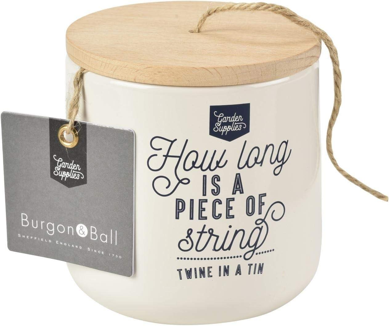 Burgon & Ball Twine String Jute Dispenser Storage Tin in Stone Cream   Holds All Your Garden String