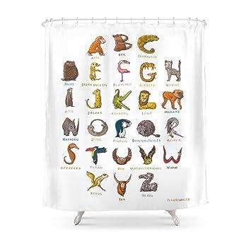 Society6 Wildlife ABC Shower Curtain 71quot