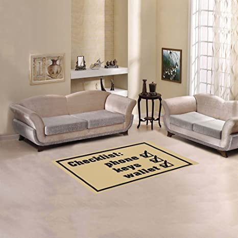 D Story Sweet Home Art Floor Decor Checklist Phone Keys Wallet Area Rug Carpet