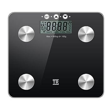 Balanza Medidora Escala de Grasa - TechRise Analizador de Grasa Corporal de Baño Digital, Medidas