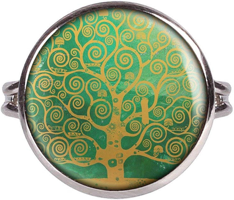 Mylery Anillo con Motivo Árbol de la Vida Árbol Mundos-árbol de la Vida de Piedra curativo Esmeralda Plata Diferentes tamaños
