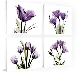 Elegant Tulip Purple Canvas Print Home Decor Painting, Wood Inside Framed Ready to Hang, 4 Panel (Purple, 12 x 12in)