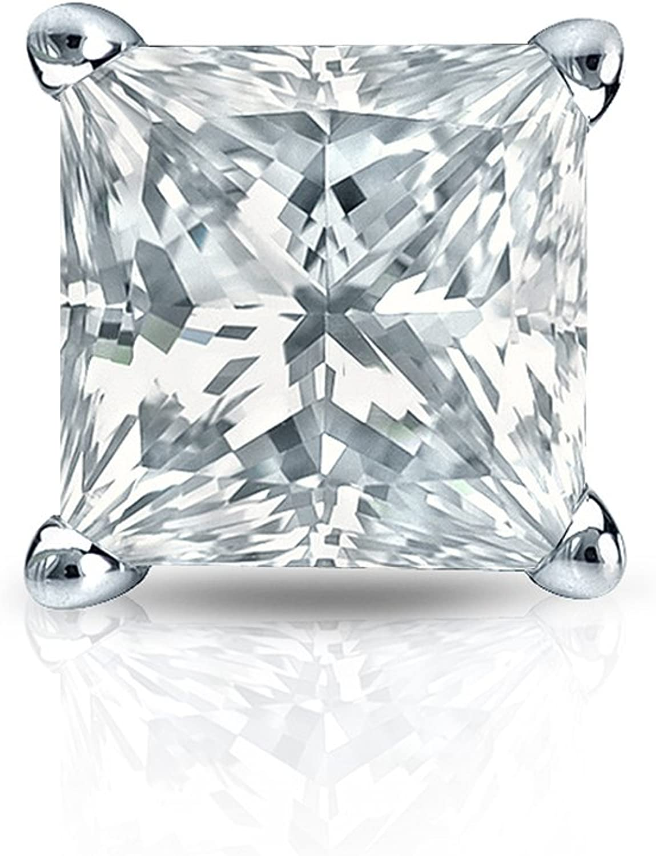 1//8-1cttw,Excellent Quality 14k White Gold Princess Diamond Simulant CZ SINGLE STUD Earring 4-Prong