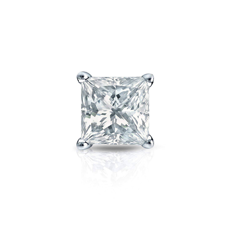 Amazon Platinum 4 Prong Basket Princess cut Diamond SINGLE STUD