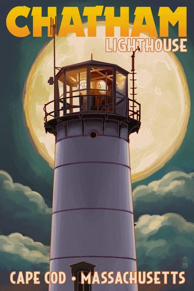 Cape Cod, Massachusetts - Chatham Light and Full Moon (9x12 Art Print, Wall Decor Travel Poster)