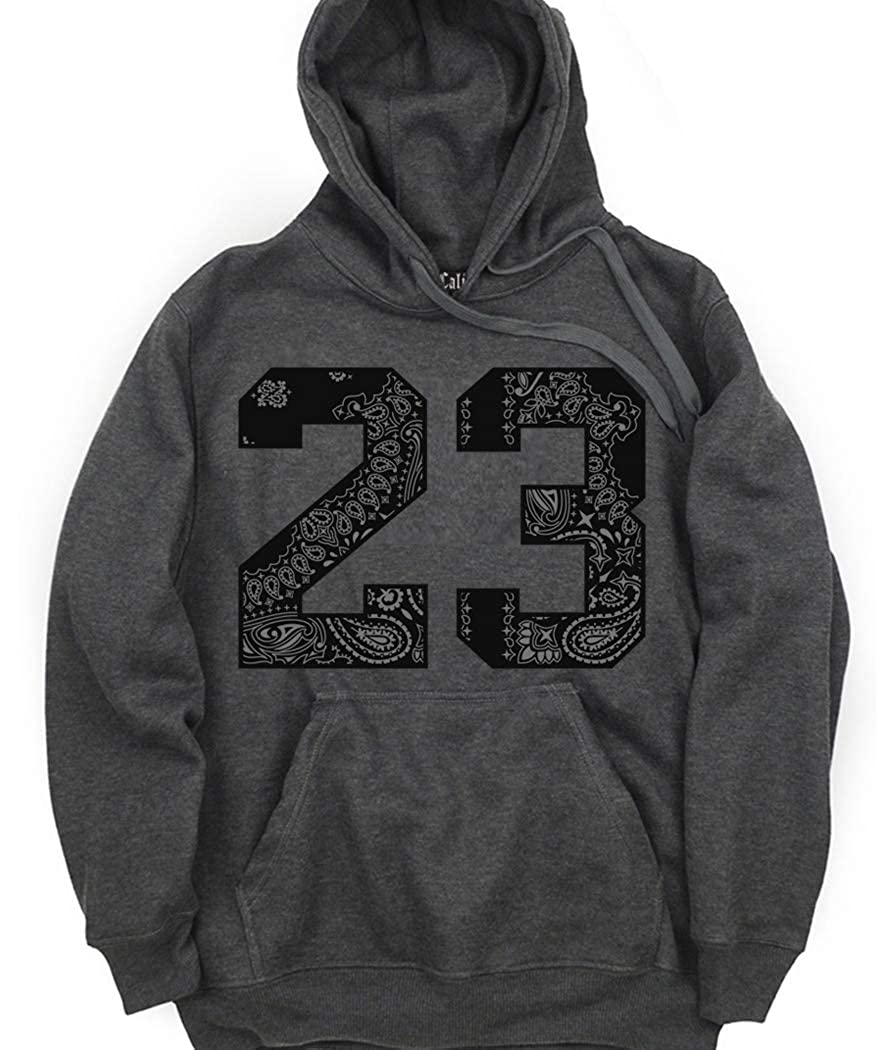 CaliDesign Charcoal Grey 23 Hoodie Hip Hop Street wear Black Bandana Sweatshirt