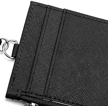 Black+Navy 2Pcs PU Leather Card Holder with Retractable Keyring for Oyster Travel Fuel Card Bus Pass ID Office Badge Holder Slim Wallet Ideal for Students Worker