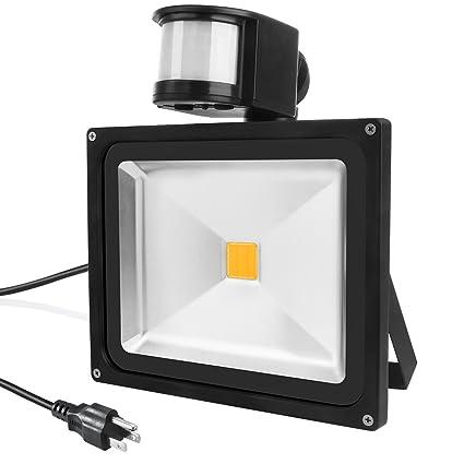 b10df57b66128 Warmoon LED Motion Sensor Flood Light 20W Outdoor IP65 Waterproof 3200K  Warm White Security Wall lighting