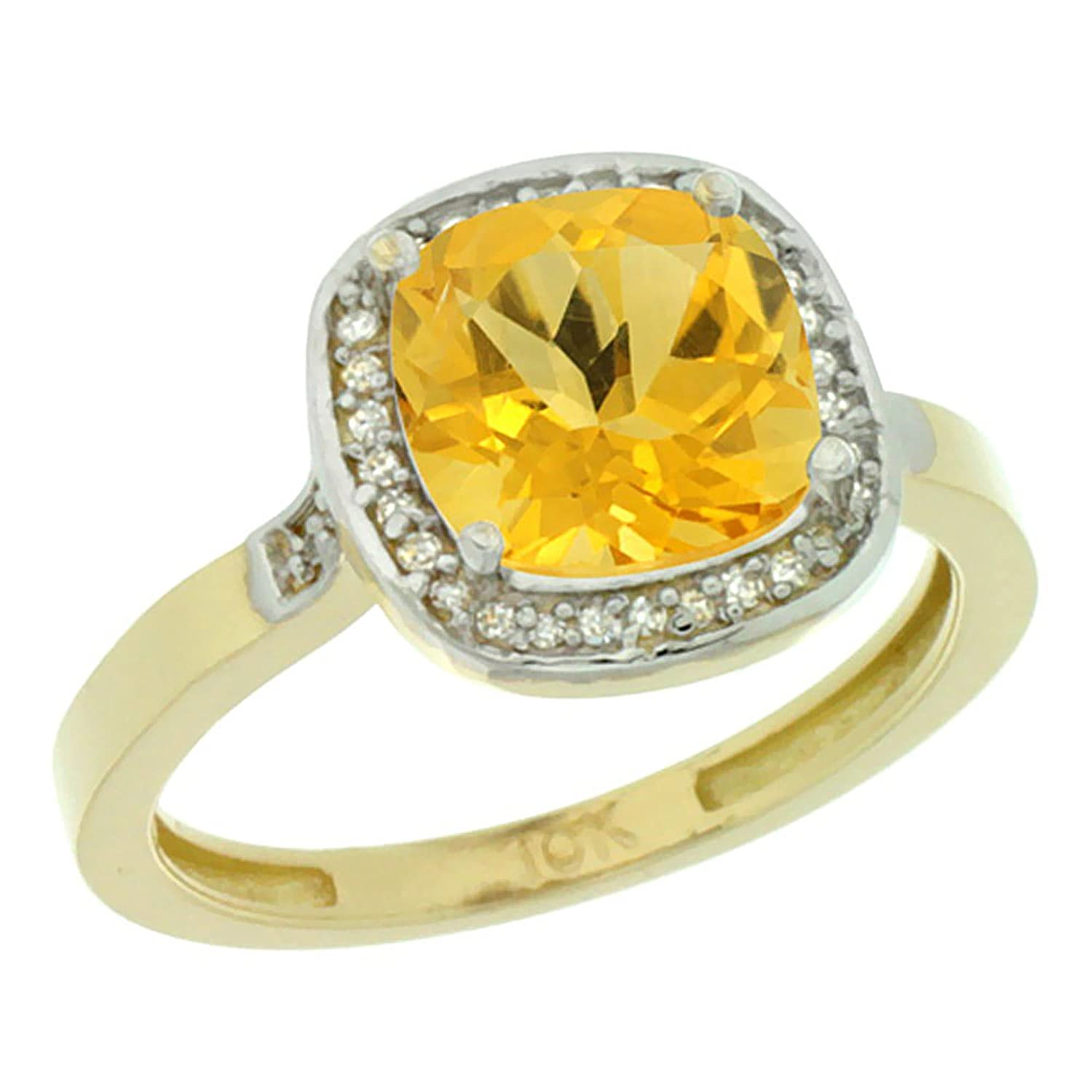 Amazon 14K Yellow Gold Diamond Natural Citrine Ring Cushion