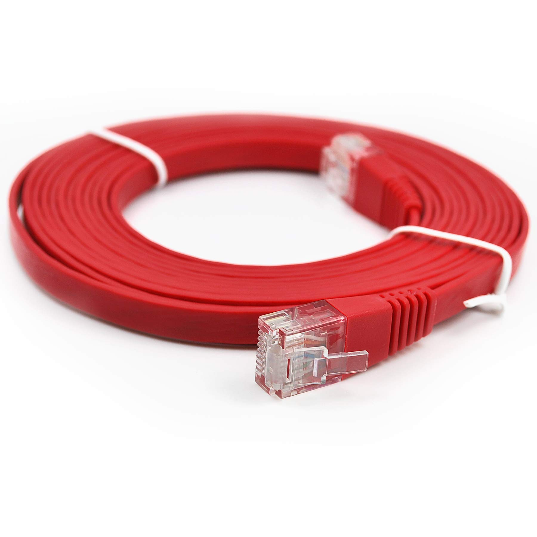 Piertelecom-Ethernet Patch Cable CAT6 LAN Flat Network Cable High Speed (10ft/red/5pack) by Pier Telecom