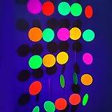 Neon Paper Circles Garland Rave Black Light Birthday Decorations, Glow in The Dark Party Supplies, UV Blacklight Reactive Dec