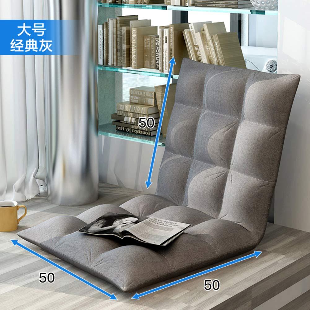 Padded Folding Sofa Chair,Adjustable 5-Position Floor Chair Lazy Tatami Sofa Lounger Video-Gaming Meditation Chair-Grey 51x51cm(20x20inch)