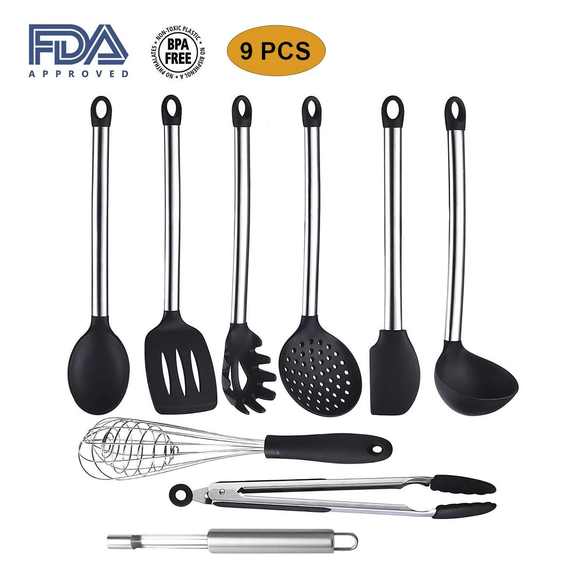 ofun Utensilios de cocina, set de 9 silicona Utensilios de cocina, utensilios de cocina resistente al calor NONSTICK silicona Utensil Back Herramientas, ...