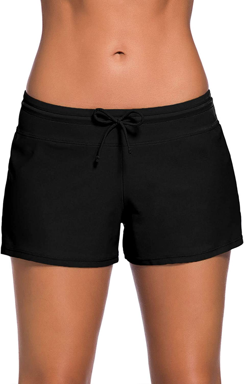WILLBOND Women Swimsuit Shorts Tankini Swim Briefs Side Split Plus Size Bottom Boardshort Summer Beach Swimwear Trunks