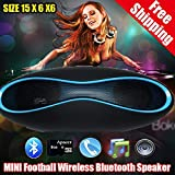 Aberobay NEW Bluetooth Speaker Wireless Portable Rugby Music Sound Box Subwoofer Loudspeakers TF/AUX/USB/FM with Built-in Microphone-Black+blue