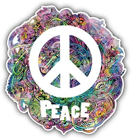 Hippie Style Peace Sign Round ID Badge Key Card Tag Holder Badge Retractable Reel Badge Holder with Belt Clip