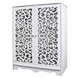 DL furniture - 3 Tier WPC Storage Shoe Shelves Rack With Sculpture Work Door | White