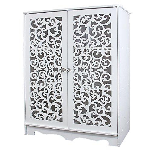 DL furniture - 3 Tier WPC Storage Shoe Shelves Rack With Sculpture Work Door | White (Wooden Shoe Cabinet)
