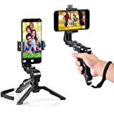 zeadio Ergonomic Swivel Smartphone Handheld Grip Stabilizer Tripod Selfie Stick Handle Steadycam Kits