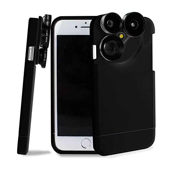separation shoes ad258 a9b92 4 in 1 iPhone 7 Lens Case Camera Lens Kit Fish Eye Lens / Macro Lens / Wide  Angle Lens / Telephoto Lens Black(Fits iphone 7-4.7 inch only)