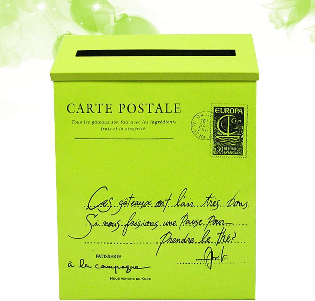 Verde Yardwe Buz/ón de Hierro Metal de Exterior Montado en Pared Estilo Vintage para Correo Cartas Postal y Peri/ódico