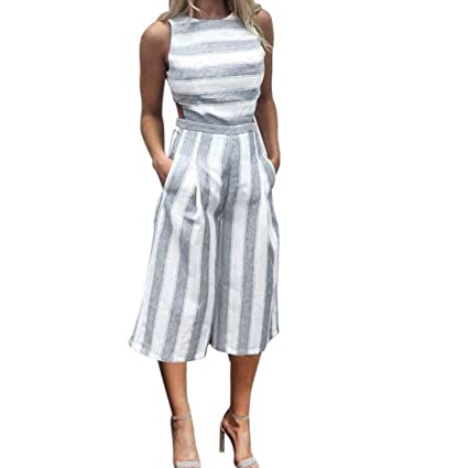 ab3955329c97 Amazon.com  Hatoppy Women Sleeveless Striped Jumpsuit Casual Clubwear Wide  Leg Pants Outfit (M