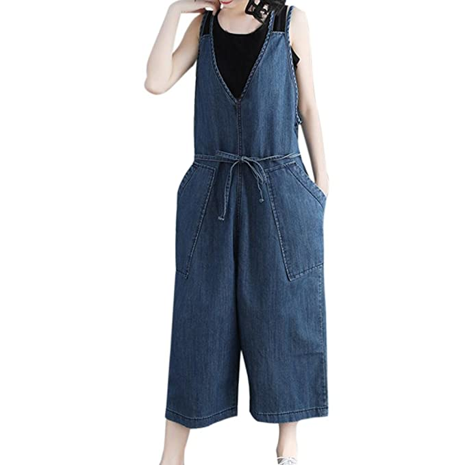 3f4aea0dff0d Opeer Women Casual Jumpsuit Loose Denim Pants Strap Harem Trousers Overalls  Harem Pant (M)