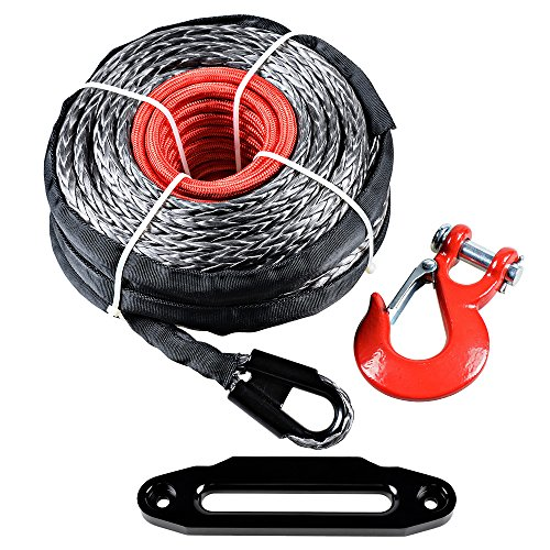 95′ x 3/8″ Black Synthetic Winch Rope Recovery Cable + Red Hook + 10″ Red Hawse Fairlead (Black)