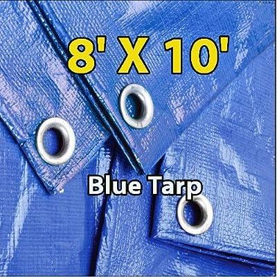 8' X 10' Blue Multi-purpose 6-mil Waterproof Poly Tarp Cover 8x10 Tent Shelter Camping Tarpaulin By Super Tarp, Model: BlueTarp810, Home & Garden Store