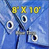 8 X 10 Blue Multi-purpose 6-mil Waterproof Poly Tarp Cover 8x10 Tent Shelter Camping Tarpaulin By Super Tarp