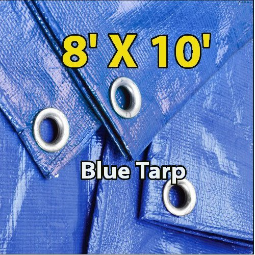 8 X 10 Blue Multi-purpose 6-mil Waterproof Poly Tarp Cover 8x10 Tent Shelter Camping Tarpaulin By Super Tarp