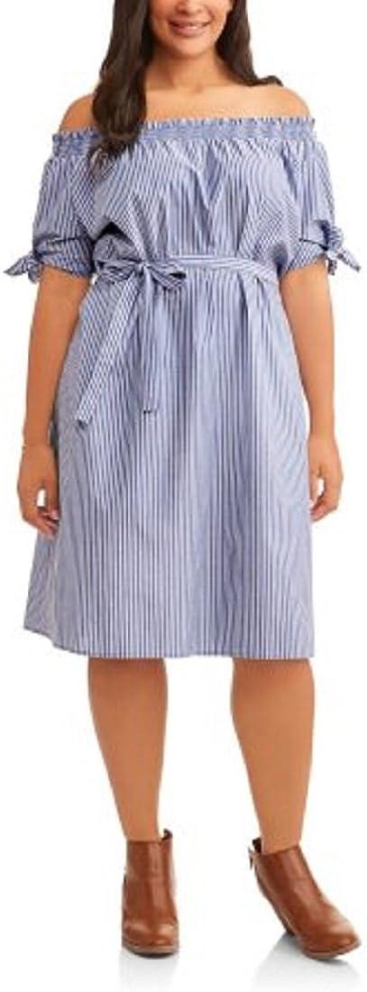 Terra & Sky Women's Plus Size Blue Woven Cotton Dress Wear On or Off Shoulder