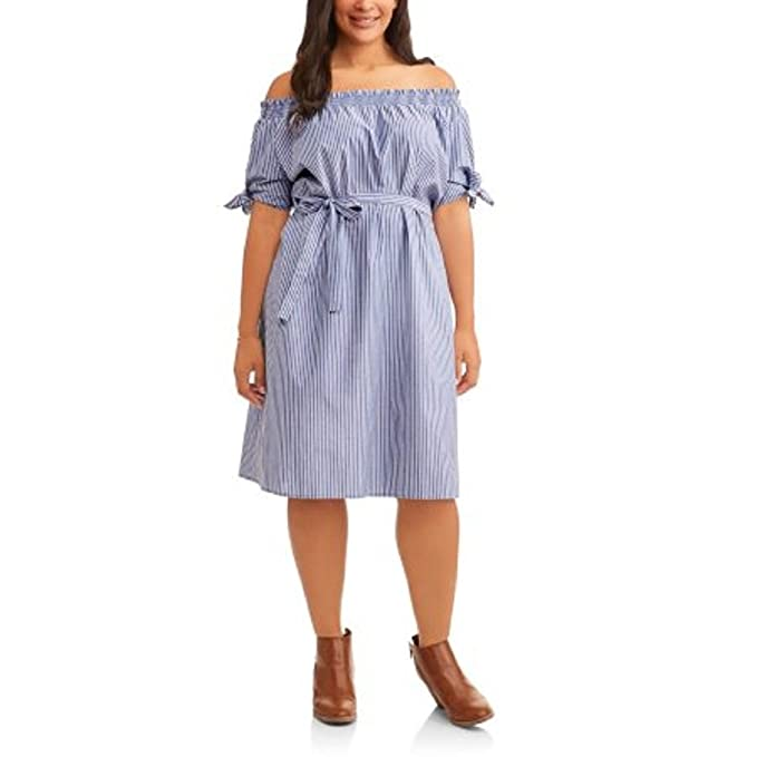 Terra & Sky Women\'s Plus Size Blue Woven Cotton Dress Wear On Or Off  Shoulder