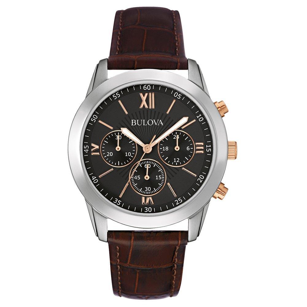 Reloj de Hombre clásico de Vestir, Engranajes de Quartz con Esfera analógica Negra y Acero Inoxidable, Correa marrón, de Bulova